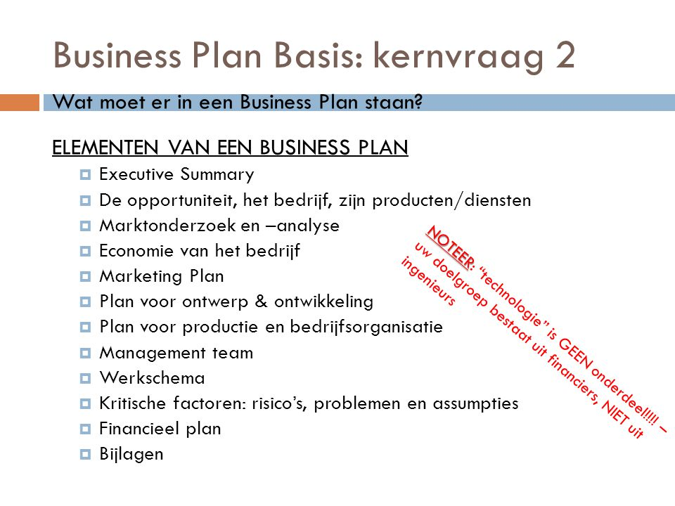 Business Plan Basis: kernvraag 2
