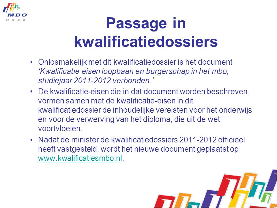 Passage in kwalificatiedossiers