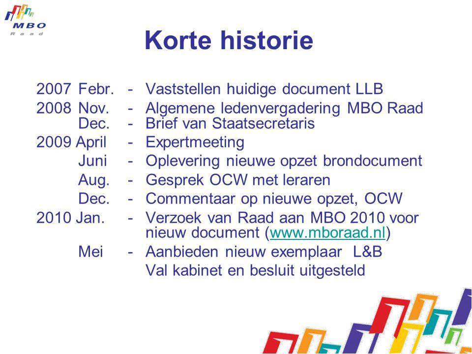Korte historie 2007 Febr. - Vaststellen huidige document LLB