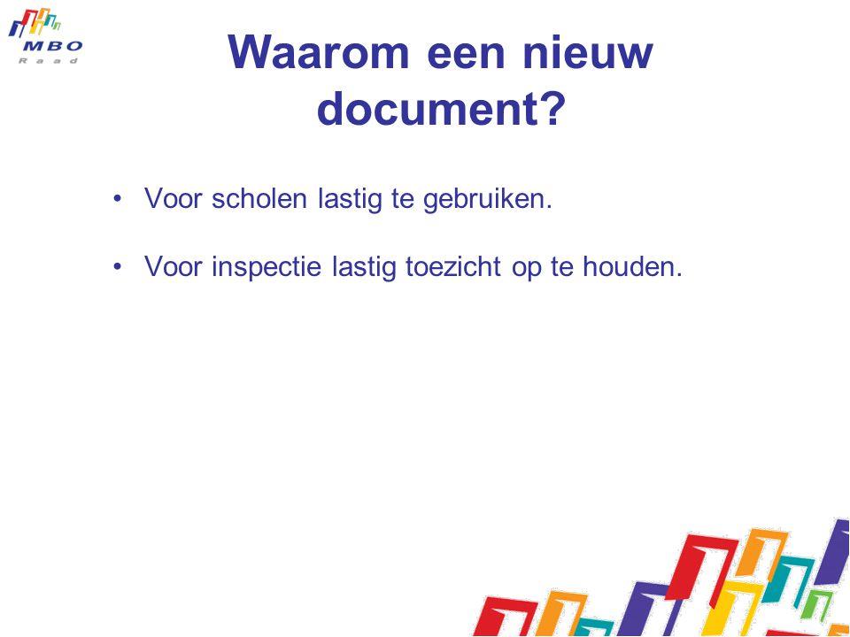 Waarom een nieuw document