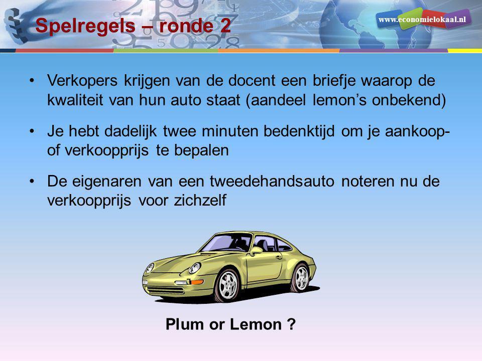 Spelregels – ronde 2 Verkopers krijgen van de docent een briefje waarop de kwaliteit van hun auto staat (aandeel lemon's onbekend)
