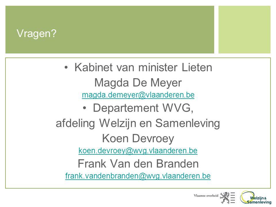 Kabinet van minister Lieten Magda De Meyer Departement WVG,