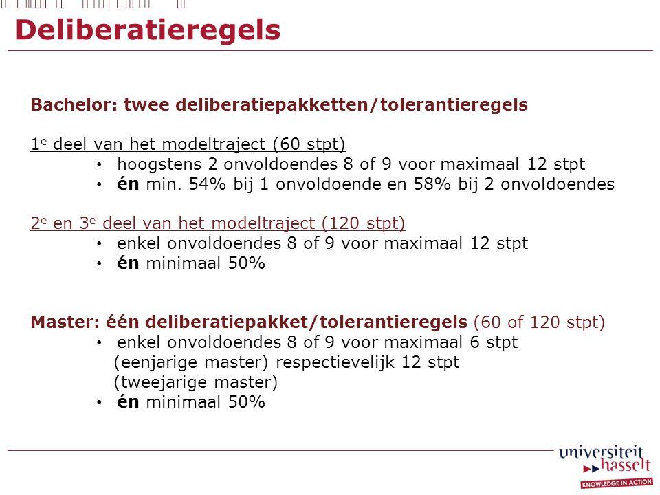 Deliberatieregels Bachelor: twee deliberatiepakketten/tolerantieregels