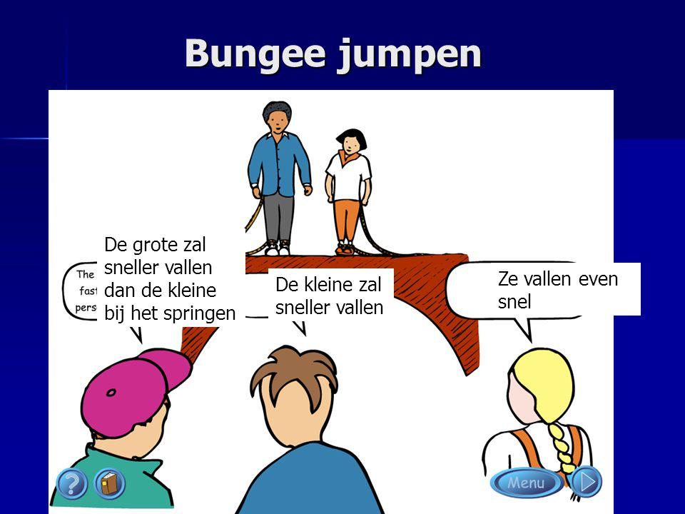 Bungee jumpen De grote zal sneller vallen dan de kleine