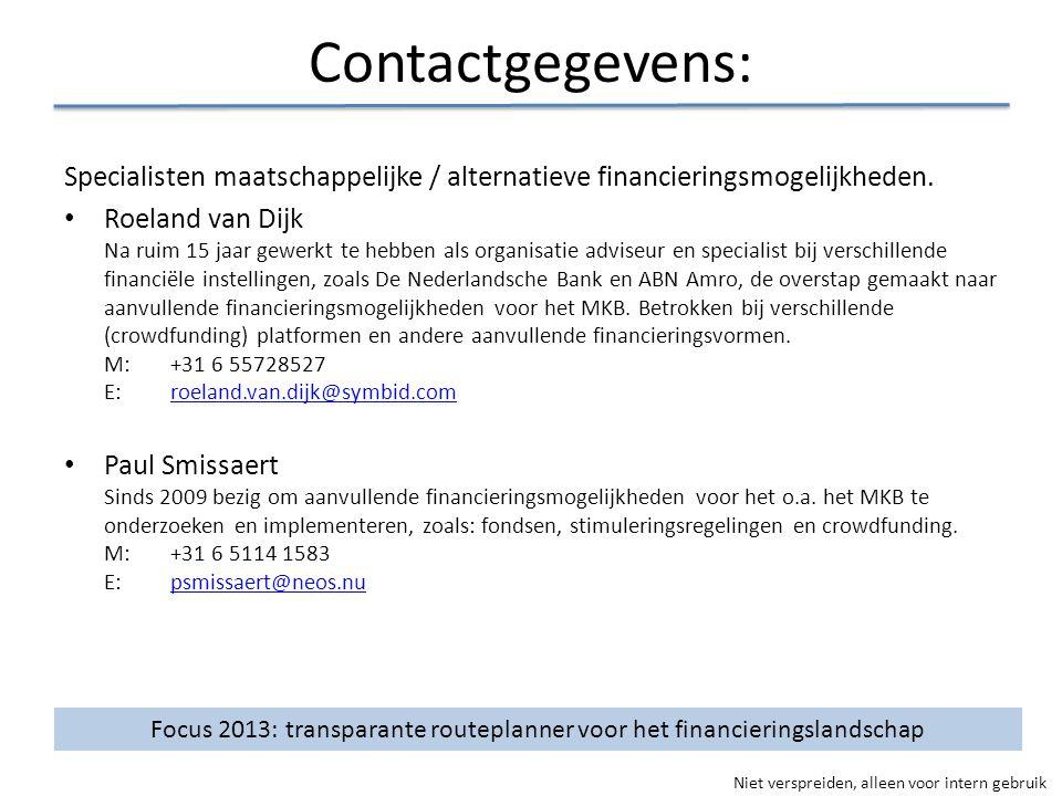 Focus 2013: transparante routeplanner voor het financieringslandschap