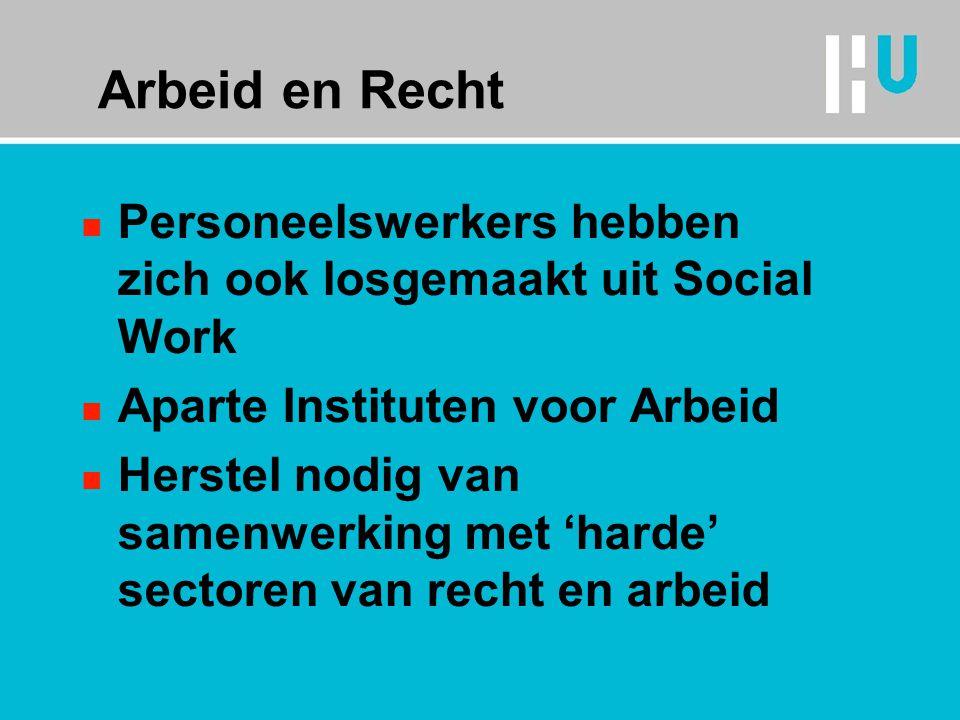 Arbeid en Recht Personeelswerkers hebben zich ook losgemaakt uit Social Work. Aparte Instituten voor Arbeid.