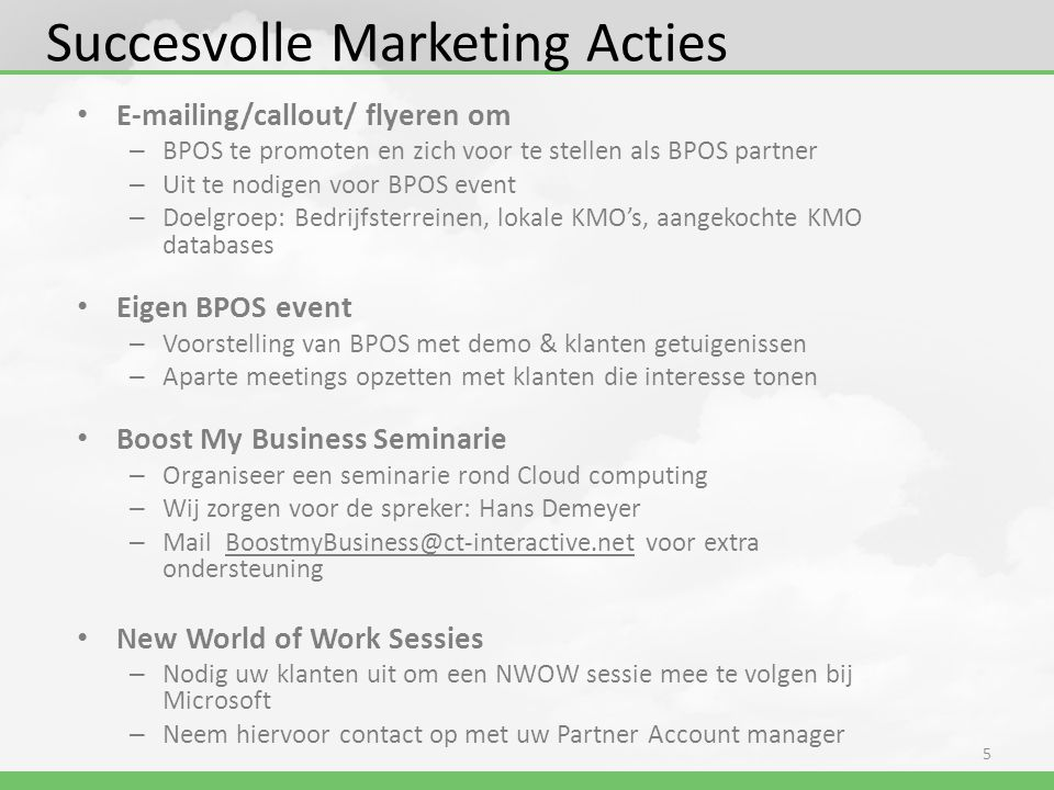 Succesvolle Marketing Acties