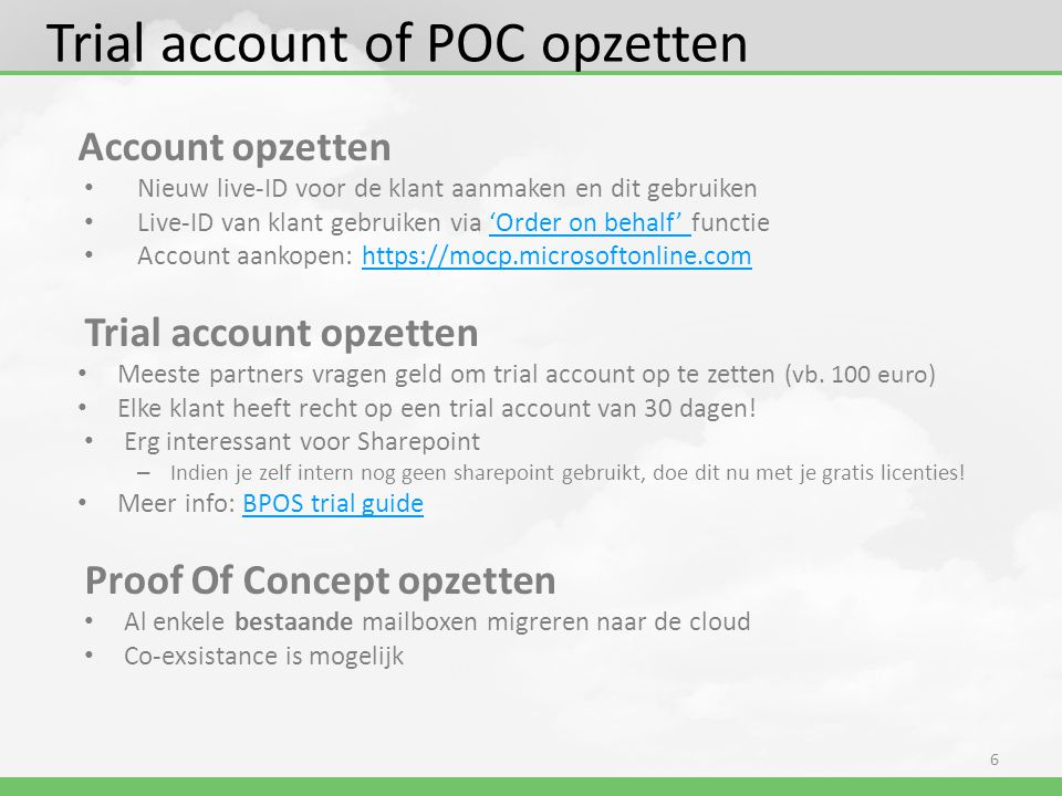 Trial account of POC opzetten