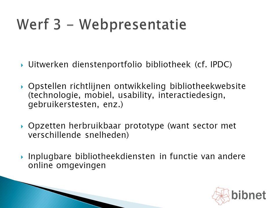 Werf 3 - Webpresentatie Uitwerken dienstenportfolio bibliotheek (cf. IPDC)
