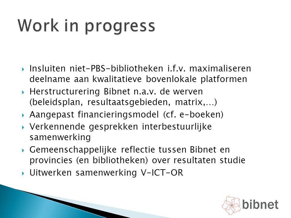 Work in progress Insluiten niet-PBS-bibliotheken i.f.v. maximaliseren deelname aan kwalitatieve bovenlokale platformen.