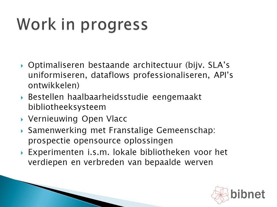 Work in progress Optimaliseren bestaande architectuur (bijv. SLA's uniformiseren, dataflows professionaliseren, API's ontwikkelen)