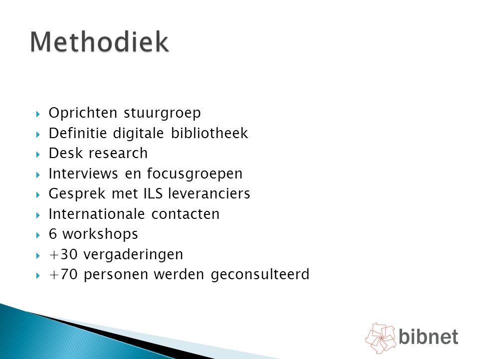 Methodiek Oprichten stuurgroep Definitie digitale bibliotheek