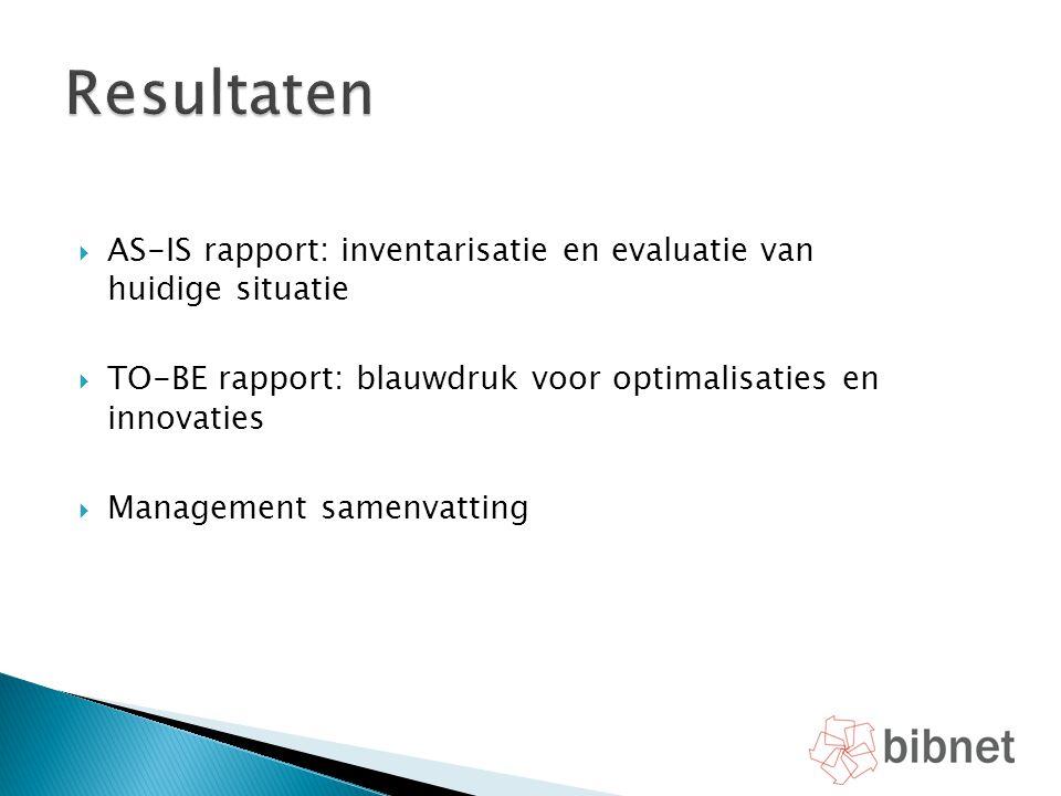 Resultaten AS-IS rapport: inventarisatie en evaluatie van huidige situatie. TO-BE rapport: blauwdruk voor optimalisaties en innovaties.