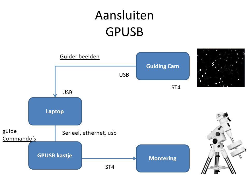 Aansluiten GPUSB Guider beelden Guiding Cam USB ST4 USB Laptop guide