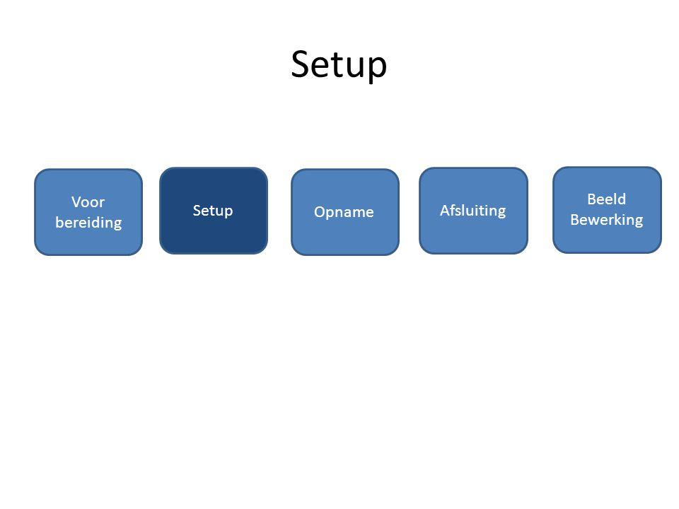 Setup Voor bereiding Setup Opname Afsluiting Beeld Bewerking