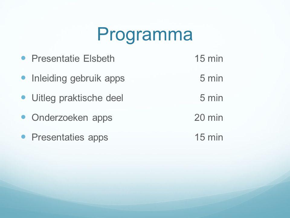 Programma Presentatie Elsbeth 15 min Inleiding gebruik apps 5 min