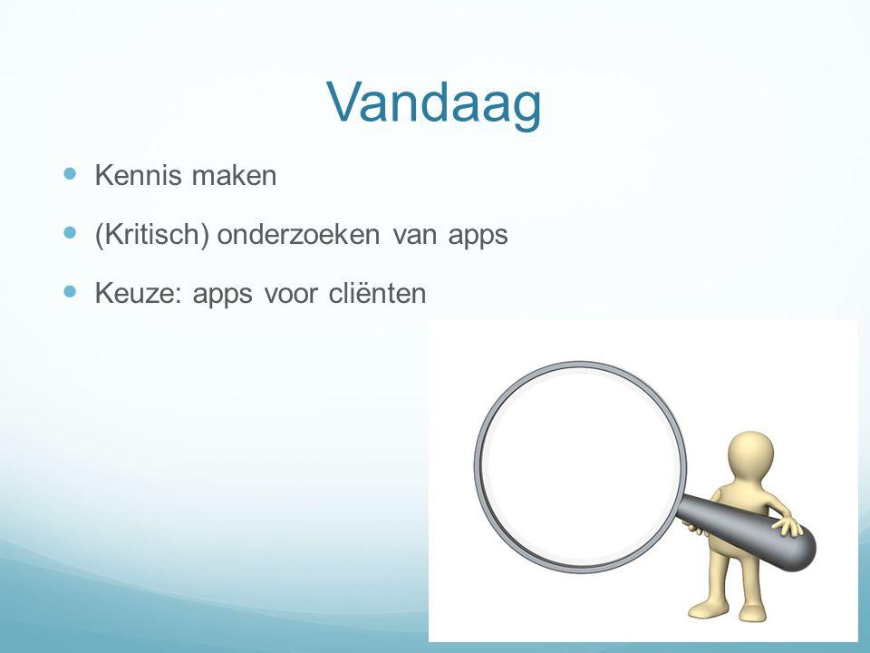 Vandaag Kennis maken (Kritisch) onderzoeken van apps