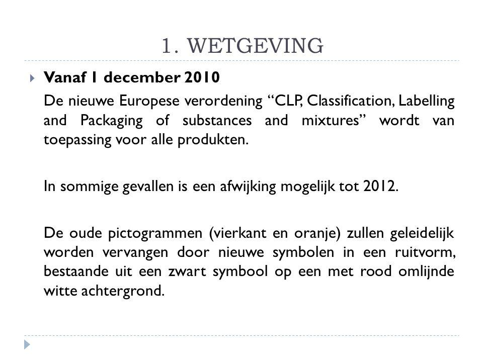 1. WETGEVING Vanaf 1 december 2010