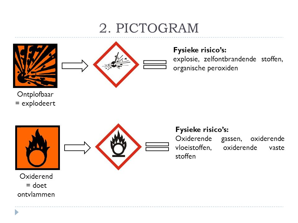 2. PICTOGRAM Fysieke risico's: