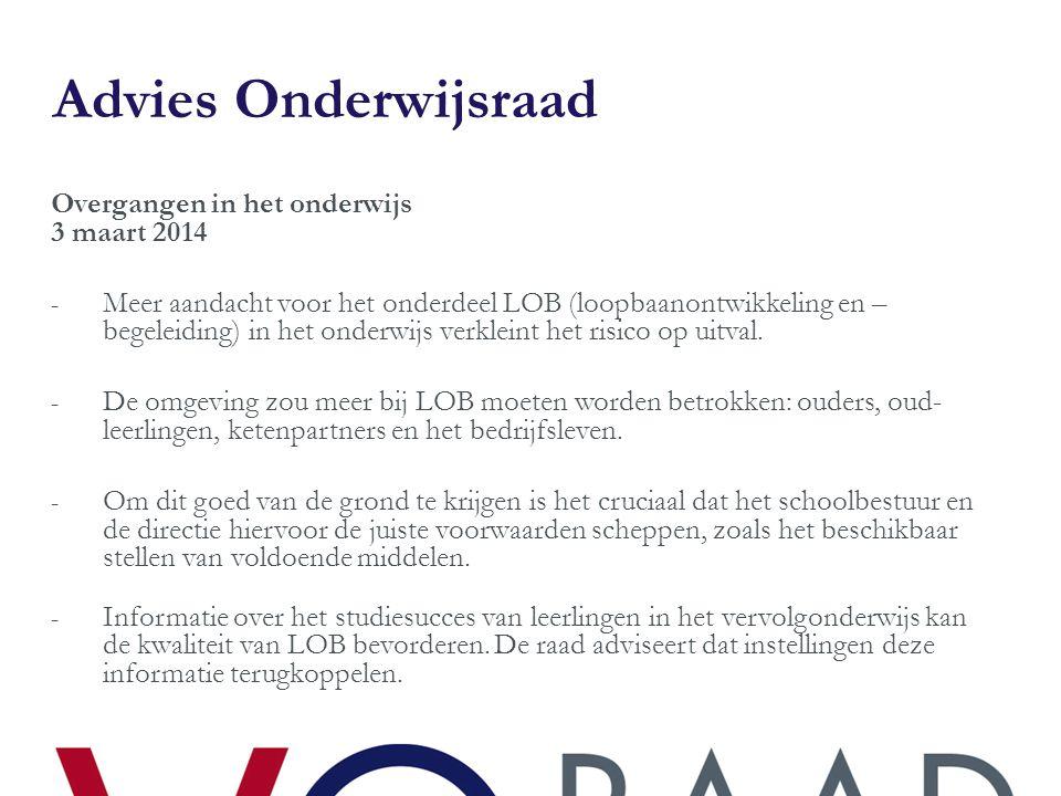 Advies Onderwijsraad Overgangen in het onderwijs 3 maart 2014