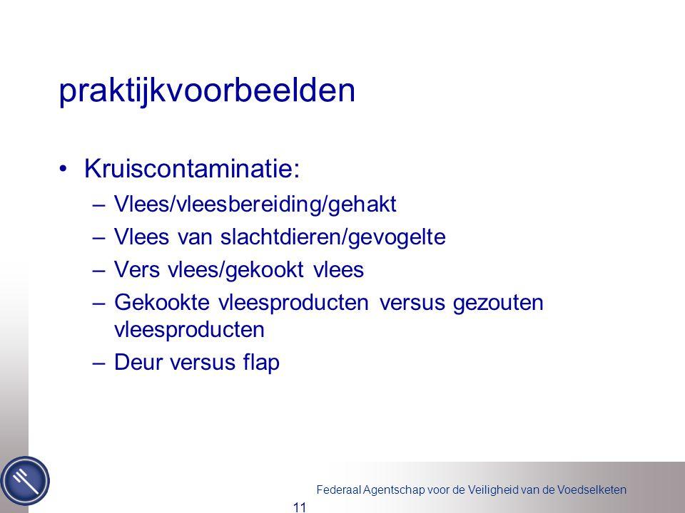 praktijkvoorbeelden Kruiscontaminatie: Vlees/vleesbereiding/gehakt