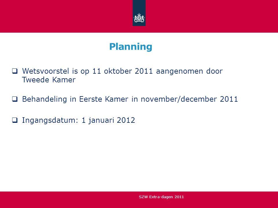 Planning Wetsvoorstel is op 11 oktober 2011 aangenomen door Tweede Kamer. Behandeling in Eerste Kamer in november/december 2011.