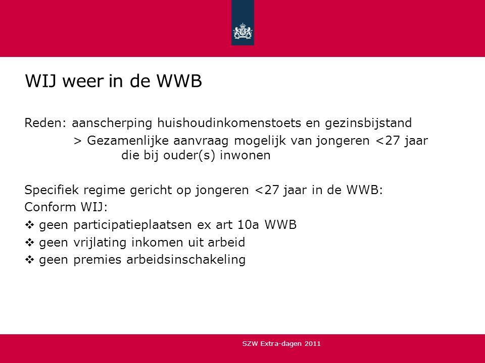 WIJ weer in de WWB Reden: aanscherping huishoudinkomenstoets en gezinsbijstand.