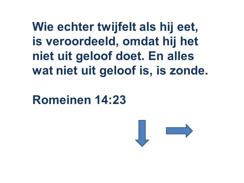 Wie echter twijfelt als hij eet, is veroordeeld, omdat hij het niet uit geloof doet. En alles wat niet uit geloof is, is zonde.