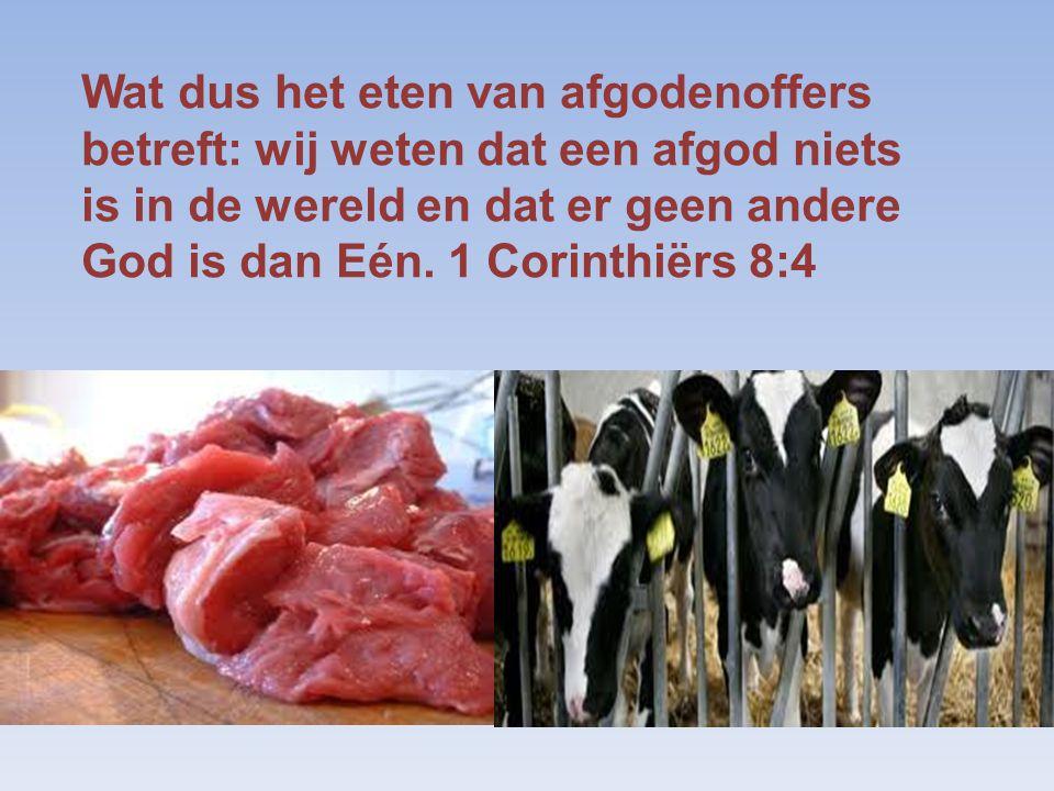 Wat dus het eten van afgodenoffers betreft: wij weten dat een afgod niets is in de wereld en dat er geen andere God is dan Eén.