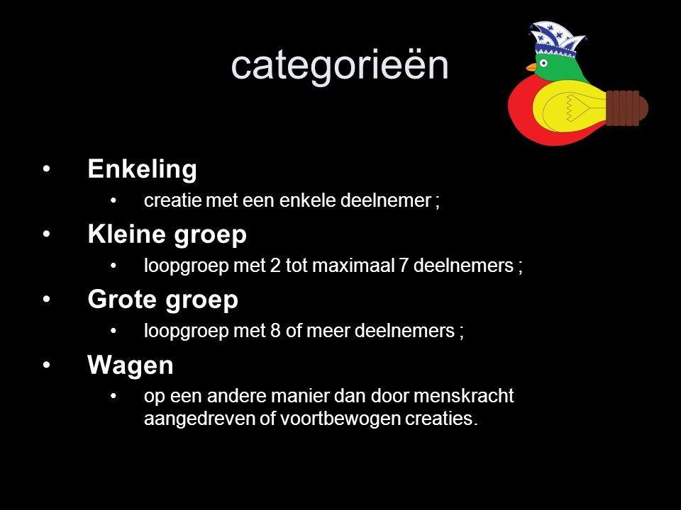 categorieën Enkeling Kleine groep Grote groep Wagen