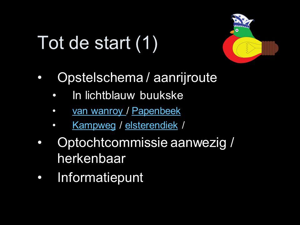 Tot de start (1) Opstelschema / aanrijroute