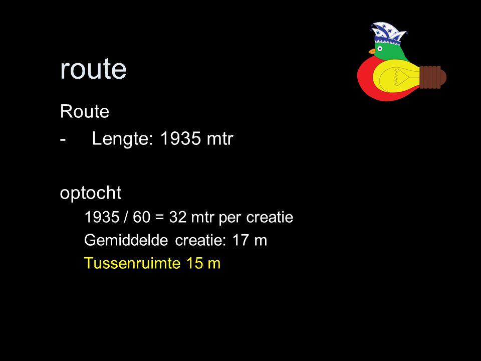 route Route Lengte: 1935 mtr optocht 1935 / 60 = 32 mtr per creatie