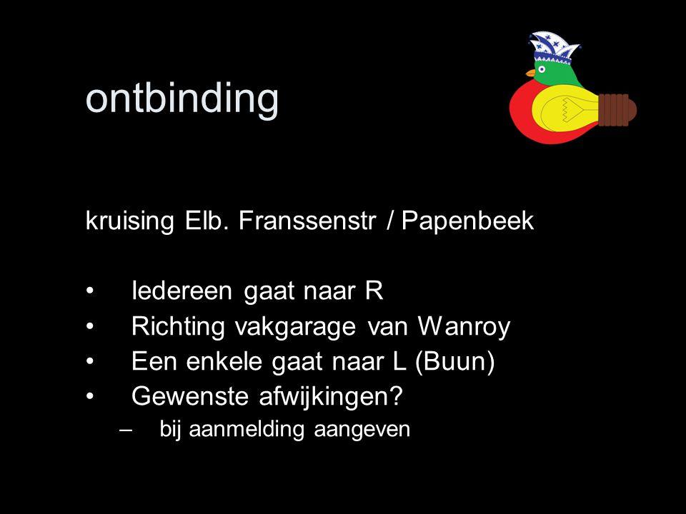 ontbinding kruising Elb. Franssenstr / Papenbeek Iedereen gaat naar R