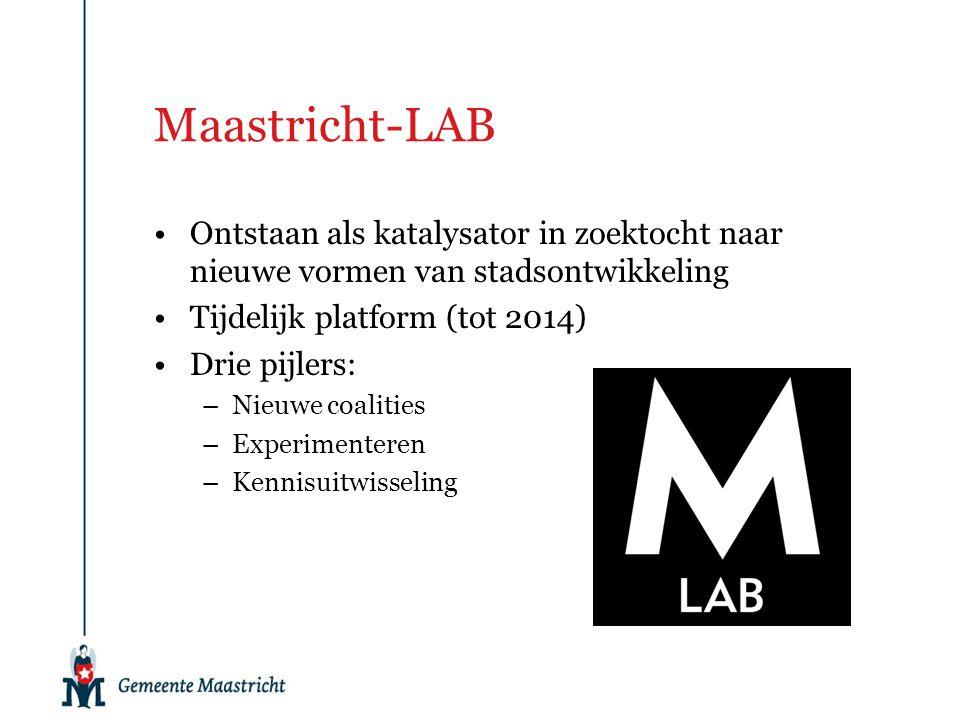 Maastricht-LAB Ontstaan als katalysator in zoektocht naar nieuwe vormen van stadsontwikkeling. Tijdelijk platform (tot 2014)