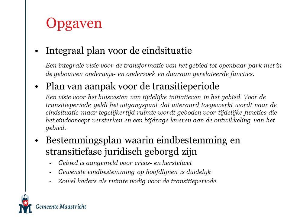 Opgaven Integraal plan voor de eindsituatie