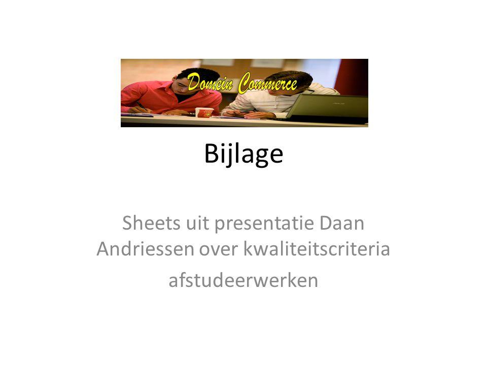 Sheets uit presentatie Daan Andriessen over kwaliteitscriteria