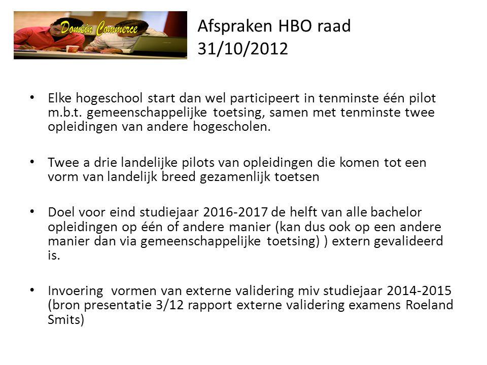 Afspraken HBO raad 31/10/2012