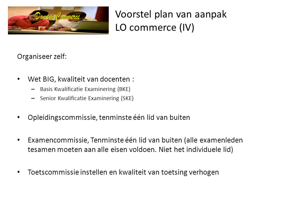 Voorstel plan van aanpak LO commerce (IV)
