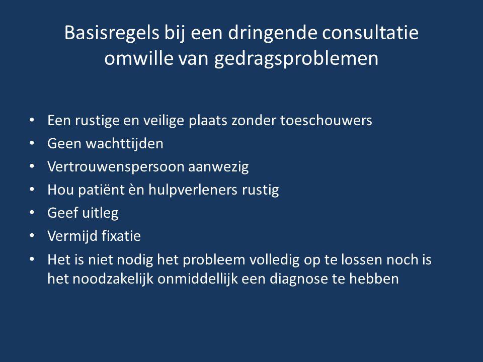 Basisregels bij een dringende consultatie omwille van gedragsproblemen