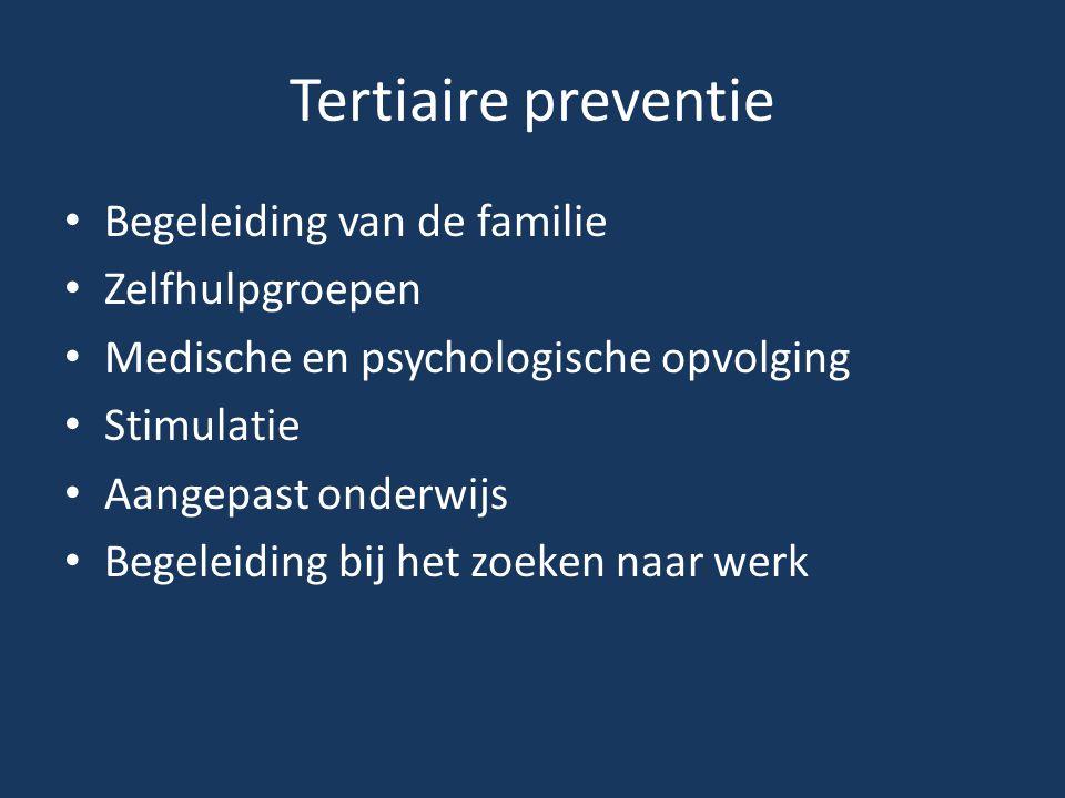 Tertiaire preventie Begeleiding van de familie Zelfhulpgroepen