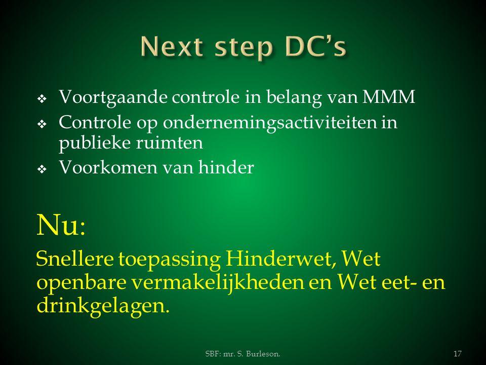 Next step DC's Voortgaande controle in belang van MMM. Controle op ondernemingsactiviteiten in publieke ruimten.