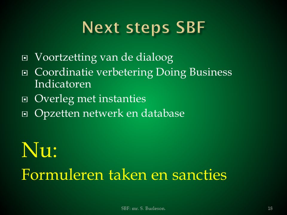 Nu: Next steps SBF Formuleren taken en sancties