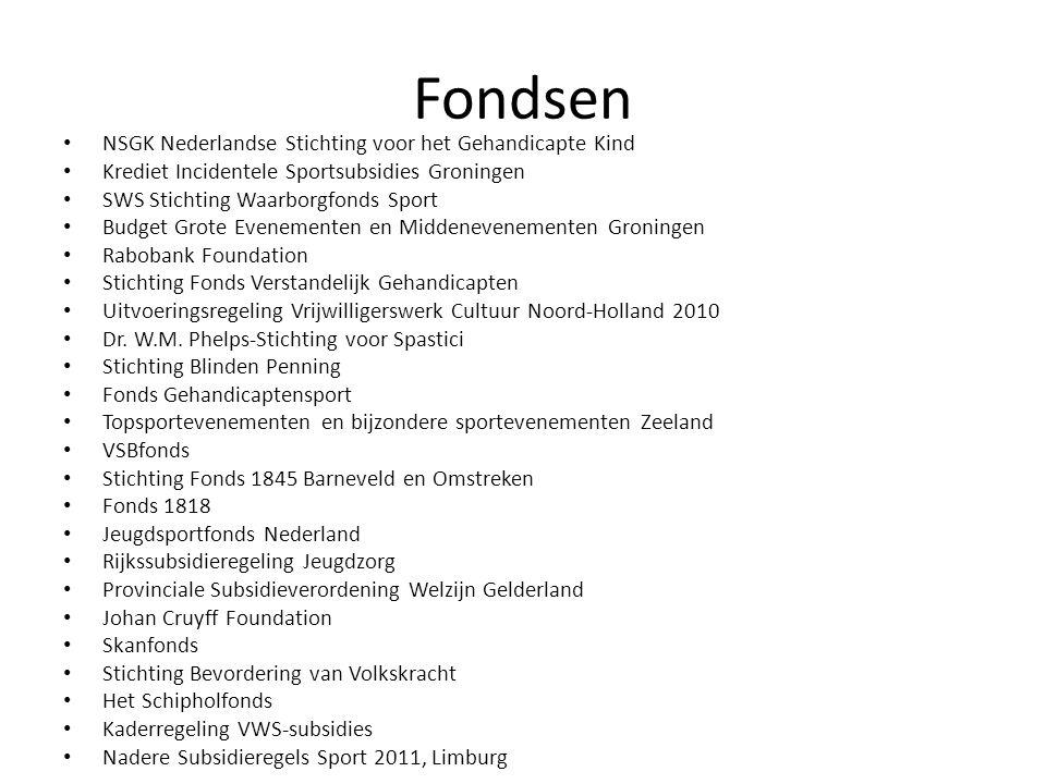 Fondsen NSGK Nederlandse Stichting voor het Gehandicapte Kind