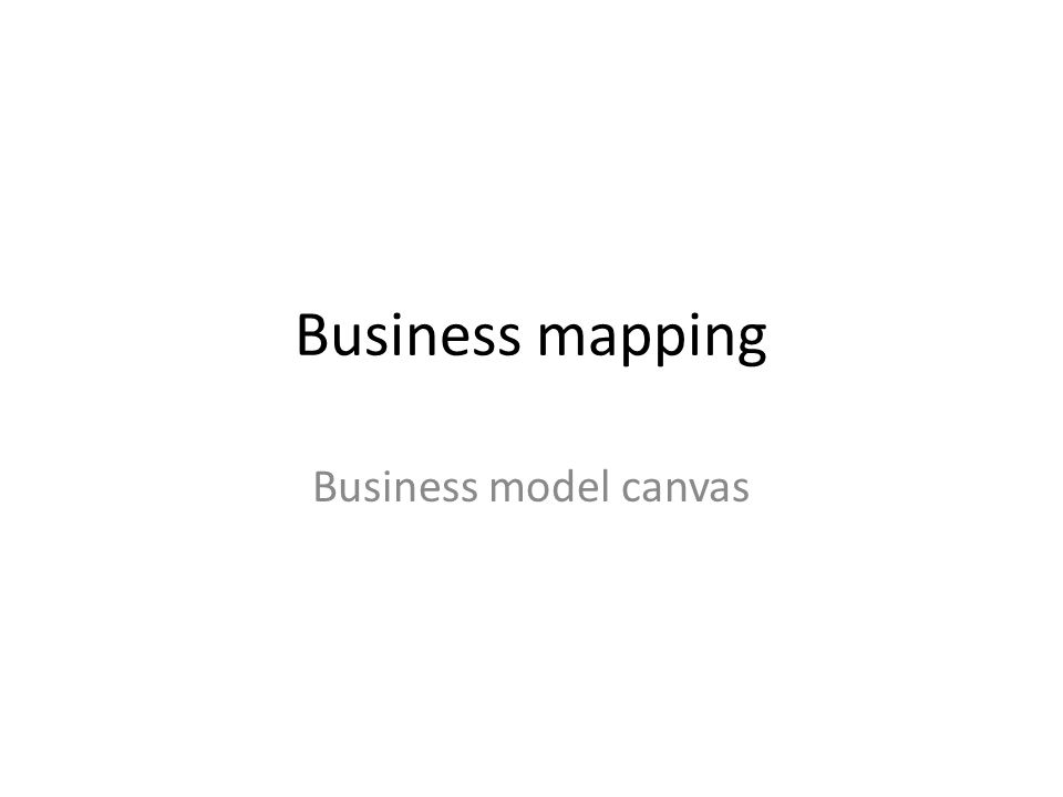 Business mapping Business model canvas