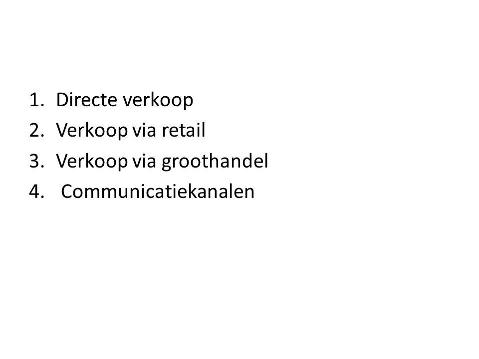 Directe verkoop Verkoop via retail Verkoop via groothandel Communicatiekanalen