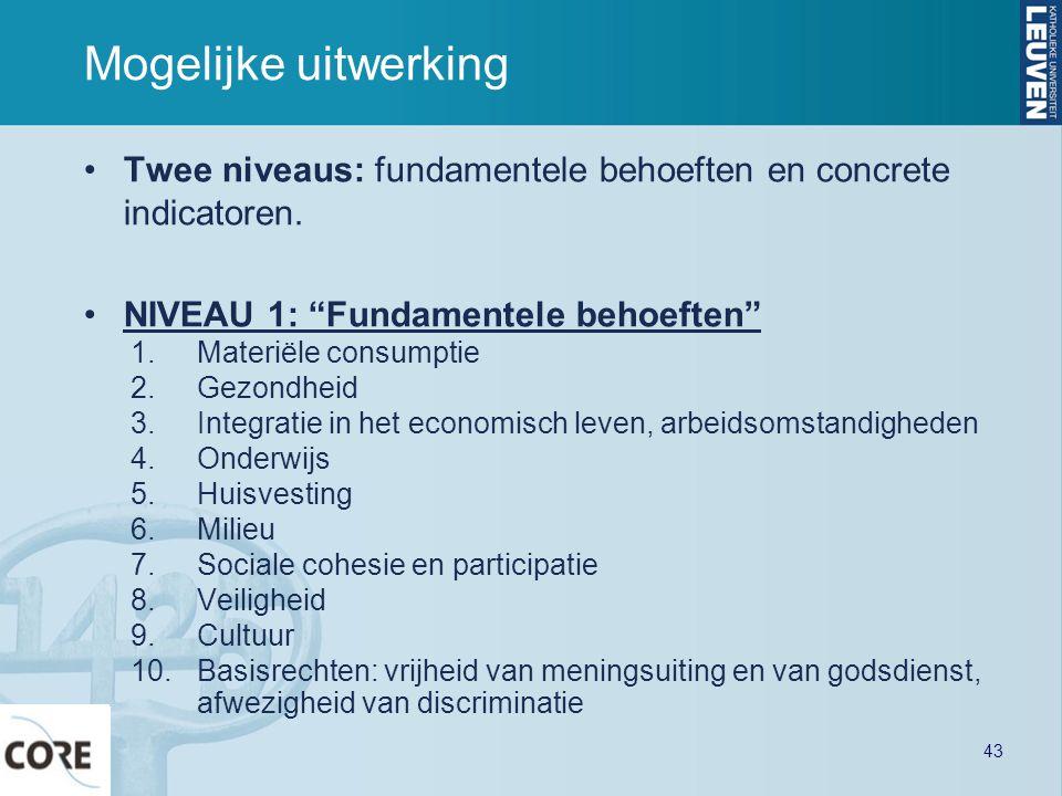 Mogelijke uitwerking Twee niveaus: fundamentele behoeften en concrete indicatoren. NIVEAU 1: Fundamentele behoeften