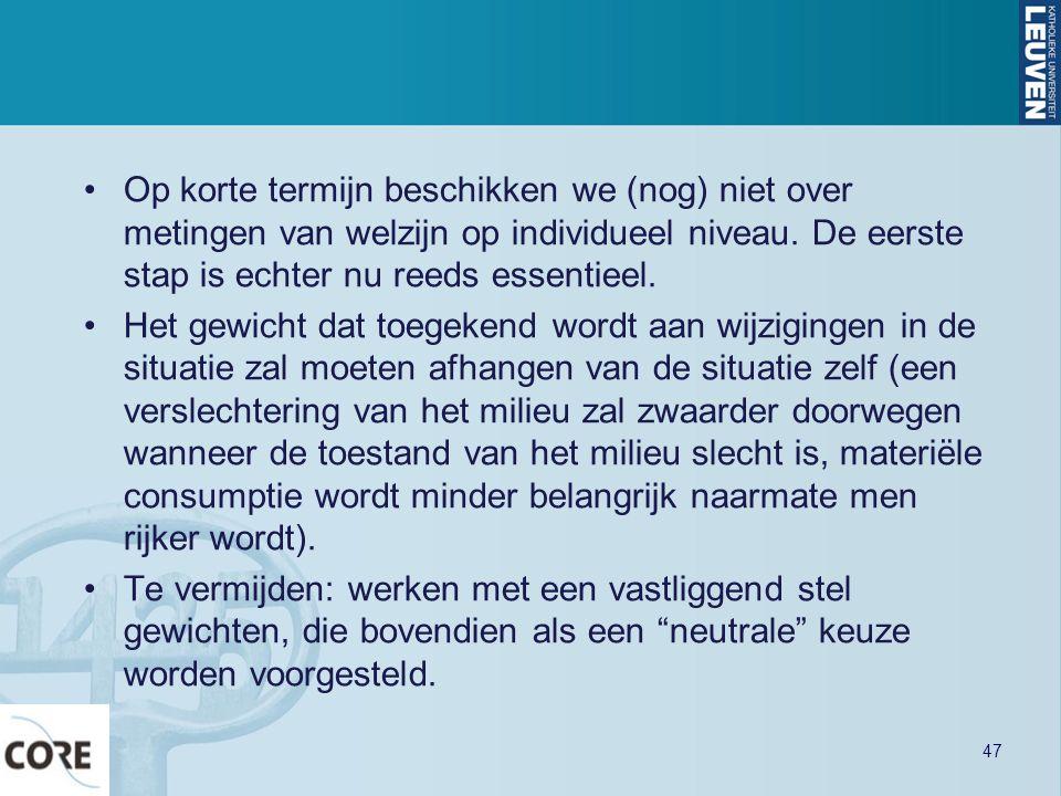 Op korte termijn beschikken we (nog) niet over metingen van welzijn op individueel niveau. De eerste stap is echter nu reeds essentieel.