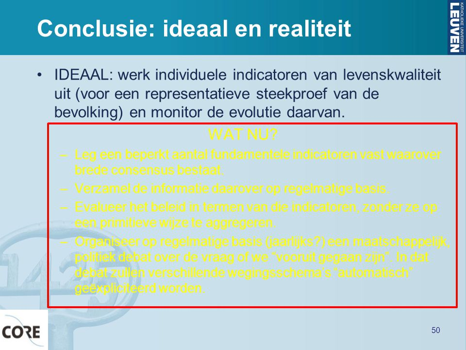Conclusie: ideaal en realiteit