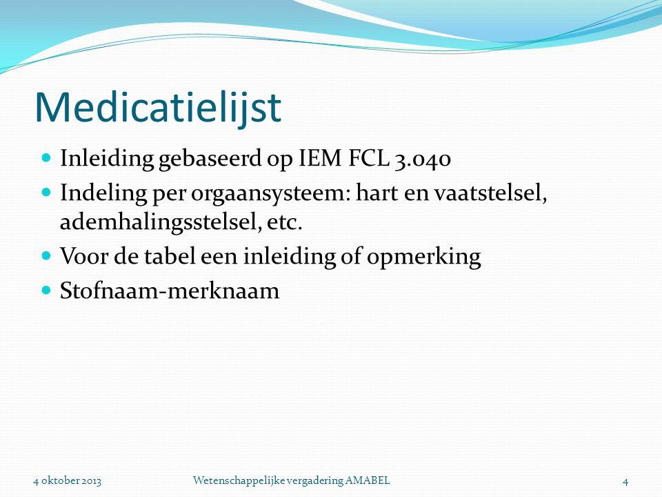 Medicatielijst Inleiding gebaseerd op IEM FCL 3.040