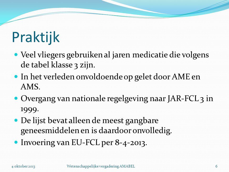 Praktijk Veel vliegers gebruiken al jaren medicatie die volgens de tabel klasse 3 zijn. In het verleden onvoldoende op gelet door AME en AMS.